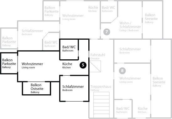 Grundriss App 5 im Obergeschoss