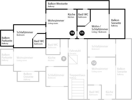 Grundriss Appartement 10/11 im Dachgeschoss