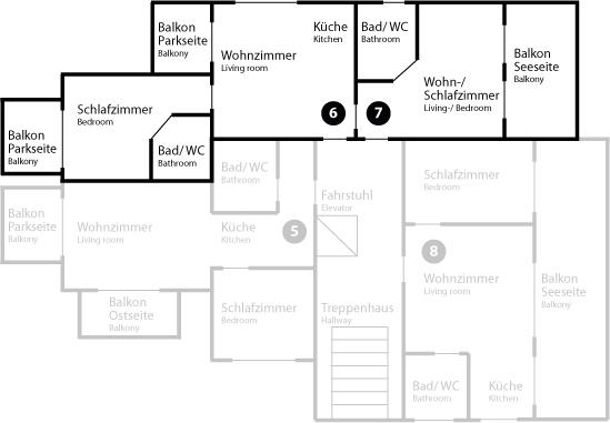 Grundriss App 6/7 im Obergeschoss