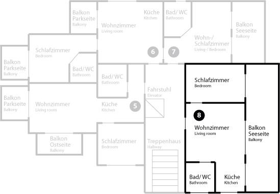 Grundriss App 8 im Obergeschoss