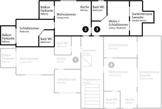 Grundriss App 2/3 im Erdgeschoss