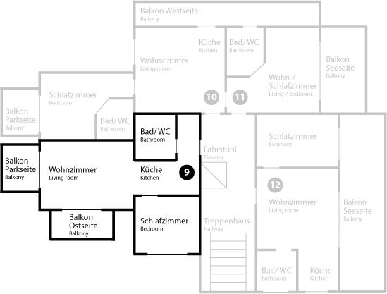 Grundriss App 9 im Dachgeschoss